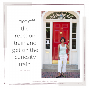 ...get off the reaction train and get on the curiosity train. -padma ali